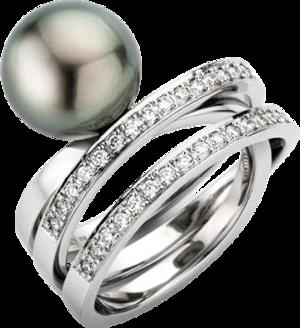 Ring Gellner Wave aus 950 Platin mit Tahiti-Perle und 50 Brillanten (0,75 Karat)