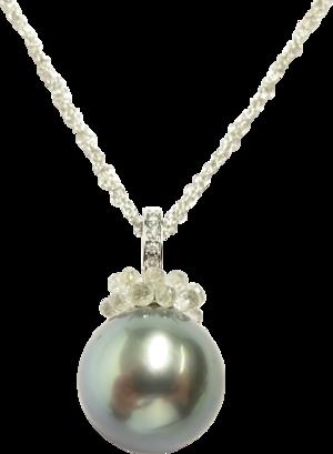 Halskette Gellner Rendezvous aus 750 Weißgold mit Tahiti-Perle und mehreren Diamanten (3,74 Karat)