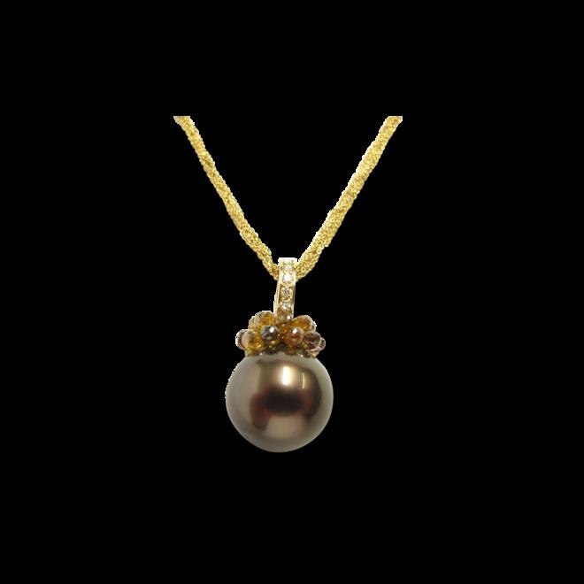Halskette mit Anhänger Gellner Rendezvous aus 750 Gelbgold und 750 Roségold mit Tahiti-Perle und mehreren Brillanten (4,28 Karat) bei Brogle
