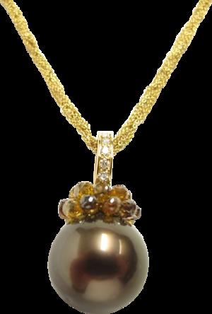 Halskette mit Anhänger Gellner Rendezvous aus 750 Gelbgold und 750 Roségold mit Tahiti-Perle und mehreren Brillanten (4,28 Karat)