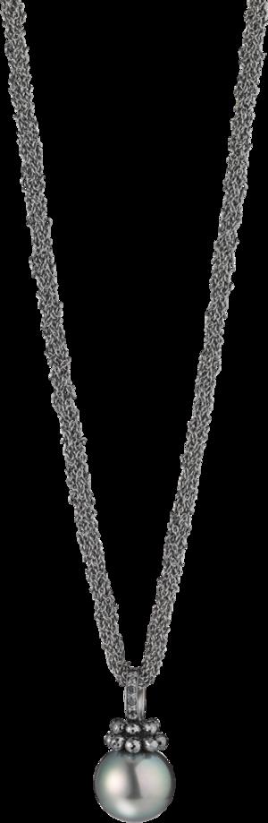 Halskette mit Anhänger Gellner Rendevouz aus 925 Sterlingsilber und 750 Weißgold mit Tahiti-Perle und 10 Brillanten (0,17 Karat)