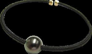 Armspange Gellner Vivid aus 925 Sterlingsilber, 750 Roségold und Nylon mit Tahiti-Perle