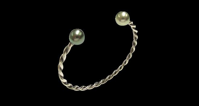 Armspange Gellner Wired XL aus 925 Sterlingsilber mit 2 Tahiti-Perlen Größe M bei Brogle