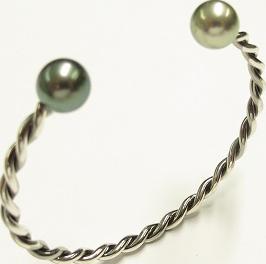 Armspange Gellner Wired XL aus 925 Sterlingsilber mit 2 Tahiti-Perlen Größe M