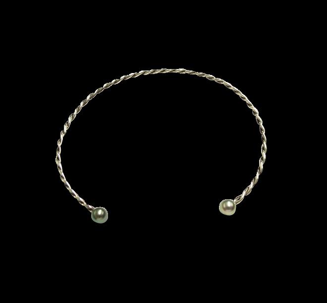 Halsreif Gellner Wired XL aus 925 Sterlingsilber mit 2 Tahiti-Perlen bei Brogle