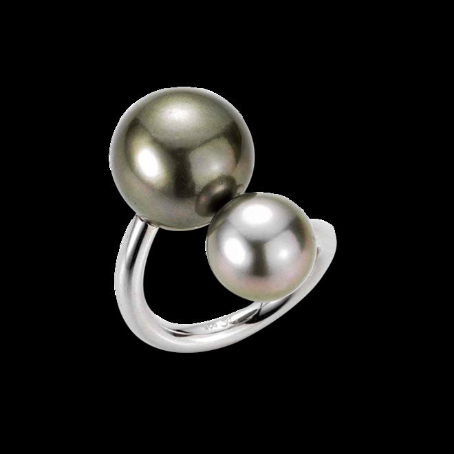 Ring Gellner Wired XL aus 925 Sterlingsilber mit 2 Tahiti-Perlen bei Brogle