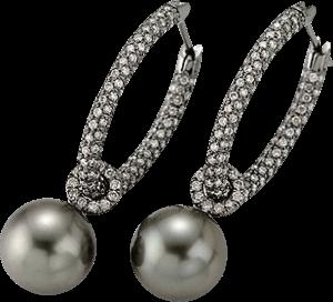 Creole Gellner Zensation aus 750 Weißgold mit 2 Tahiti-Perlen und mehreren Brillanten (2 x 1,09 Karat)