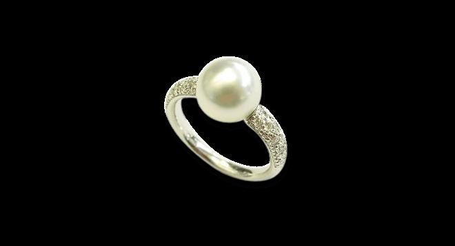 Ring Gellner Zensation aus 750 Weißgold mit Südsee-Perle und 18 Brillanten (0,324 Karat) bei Brogle