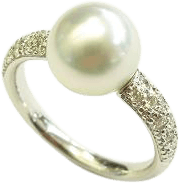Ring Gellner Zensation aus 750 Weißgold mit Südsee-Perle und 18 Brillanten (0,324 Karat)