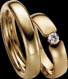 Trauring Gerstner exclusiv aus Gelbgold mit Diamant