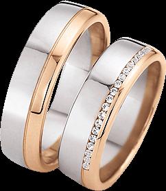 Trauring Gerstner exclusiv aus Roségold und Weißgold mit Diamant