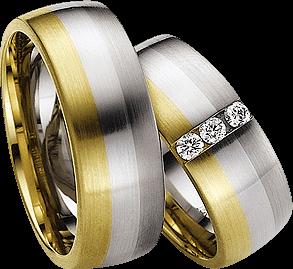 Trauring Gerstner exclusiv aus Weißgold, Gelbgold und Platin mit Diamant