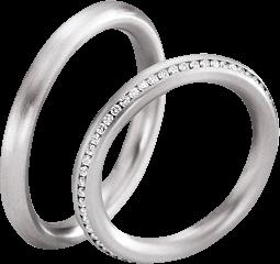 Trauring Gerstner exclusiv aus Weißgold mit Diamant