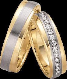 Trauring Gerstner exclusiv aus Gelbgold und Weißgold mit Diamant