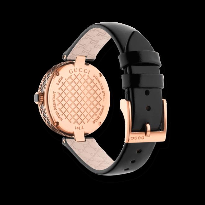 Damenuhr Gucci Diamantissima medium mit schwarzem Zifferblatt und Kalbsleder-Armband