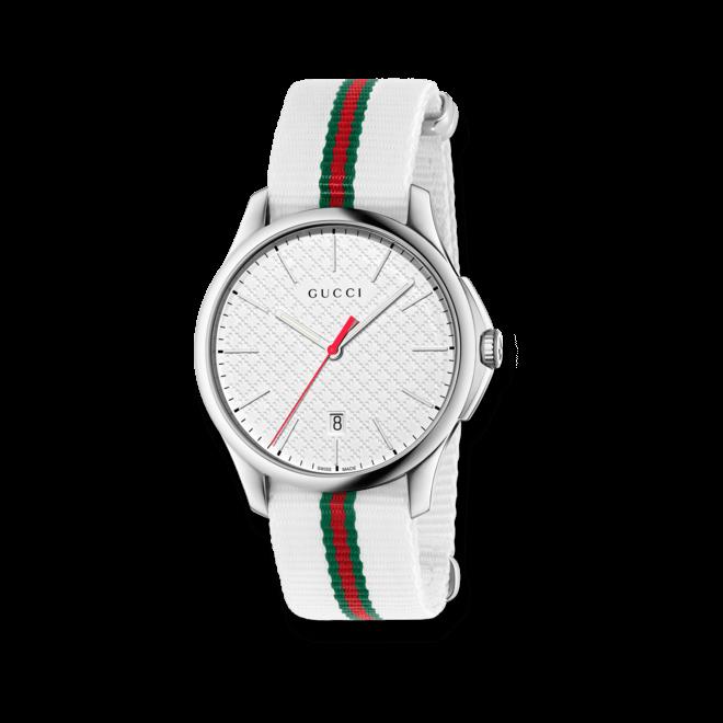 Herrenuhr Gucci G-timeless Sport large mit weißem Zifferblatt und Nylonarmband