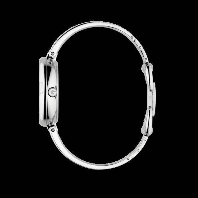 Damenuhr Gucci Guccissima large mit Diamanten, perlmuttfarbenem Zifferblatt und Edelstahlarmband
