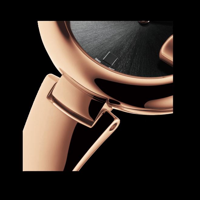 Damenuhr Gucci Guccissima large mit schwarzem Zifferblatt und Edelstahlarmband