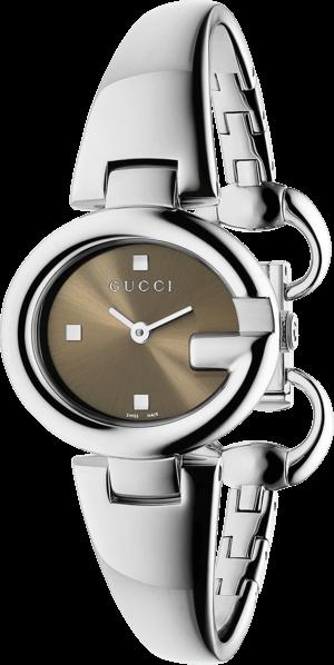 Damenuhr Gucci Guccissima small mit braunem Zifferblatt und Edelstahlarmband