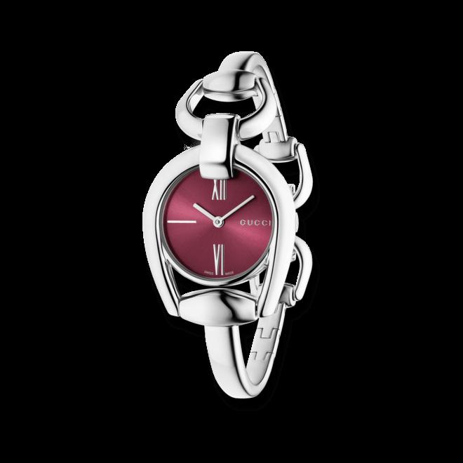 Damenuhr Gucci Horsebit Bangle small mit rotem Zifferblatt und Edelstahlarmband