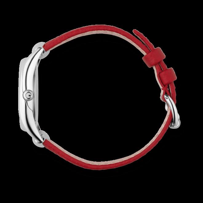 Damenuhr Gucci Horsebit small mit weißem Zifferblatt und Kalbsleder-Armband
