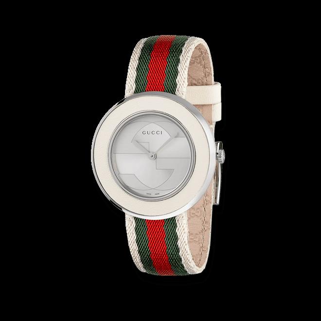 Damenuhr Gucci U-play medium mit silberfarbenem Zifferblatt und Nylonarmband