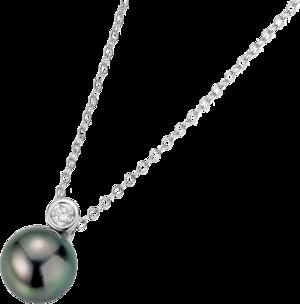 Halskette Gellner H2O aus 750 Weißgold mit Tahiti-Perle und 1 Brillant (0,12 Karat)