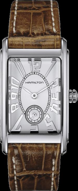 Herrenuhr Hamilton Ardmore L Quarz mit silberfarbenem Zifferblatt und Armband aus Kalbsleder mit Krokodilprägung