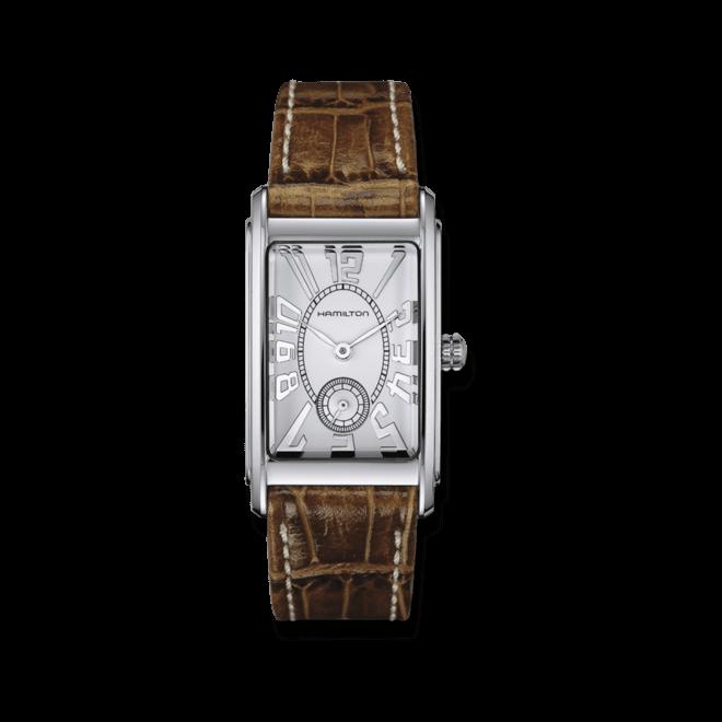 Herrenuhr Hamilton Ardmore L Quarz mit silberfarbenem Zifferblatt und Armband aus Kalbsleder mit Krokodilprägung bei Brogle