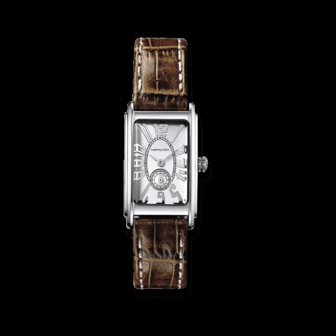Herrenuhr Hamilton Ardmore S Quarz mit silberfarbenem Zifferblatt und Armband aus Kalbsleder mit Krokodilprägung bei Brogle