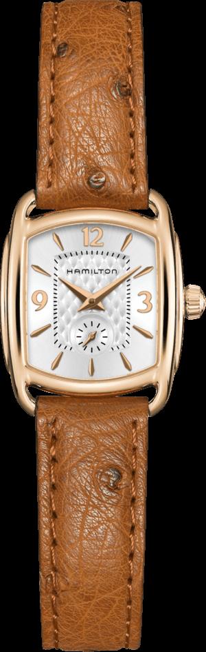 Damenuhr Hamilton Bagley M Quarz mit silberfarbenem Zifferblatt und Straußenleder-Armband