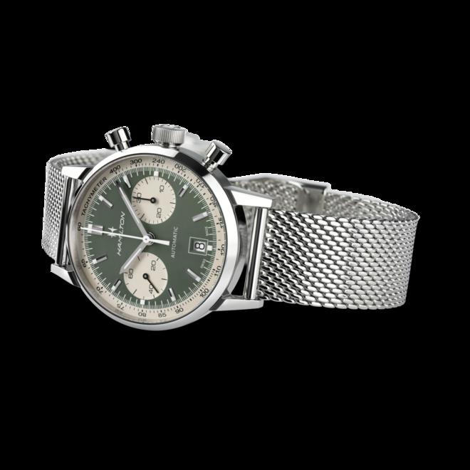 Herrenuhr Hamilton Intra-Matic Auto Chrono 40mm mit grünem Zifferblatt und Edelstahlarmband bei Brogle