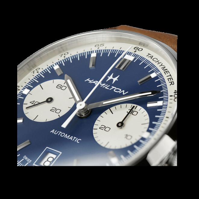 Herrenuhr Hamilton Intra-Matic Auto Chrono 40mm mit blauem Zifferblatt und Kalbsleder-Armband bei Brogle