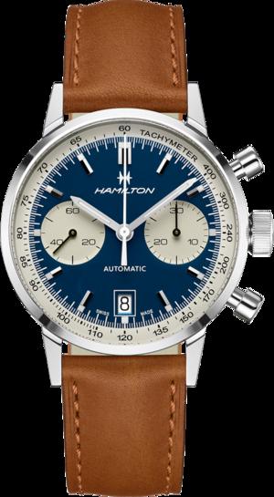 Herrenuhr Hamilton Intra-Matic Auto Chrono 40mm mit blauem Zifferblatt und Kalbsleder-Armband