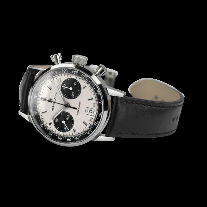 Herrenuhr Hamilton Intra-Matic Auto Chrono 40mm mit weißem Zifferblatt und Rindsleder-Armband bei Brogle