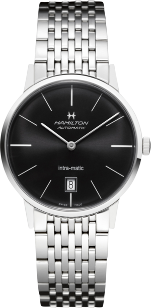 Armbanduhr Hamilton Intra-Matic Automatik 38mm mit schwarzem Zifferblatt und Edelstahlarmband