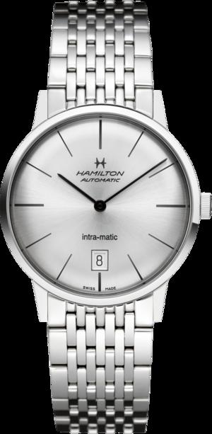 Armbanduhr Hamilton Intra-Matic Automatik 38mm mit silberfarbenem Zifferblatt und Edelstahlarmband