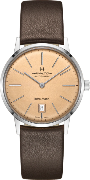 Armbanduhr Hamilton Intra-Matic Automatik 38mm mit champagnerfarbenem Zifferblatt und Kalbsleder-Armband
