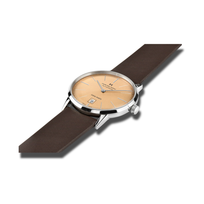 Armbanduhr Hamilton Intra-Matic Automatik 38mm mit champagnerfarbenem Zifferblatt und Kalbsleder-Armband bei Brogle
