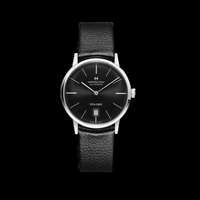 Armbanduhr Hamilton Intra-Matic Automatik 38mm mit schwarzem Zifferblatt und Kalbsleder-Armband bei Brogle