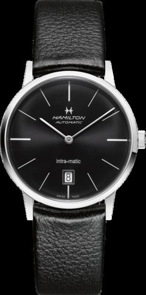 Armbanduhr Hamilton Intra-Matic Automatik 38mm mit schwarzem Zifferblatt und Kalbsleder-Armband