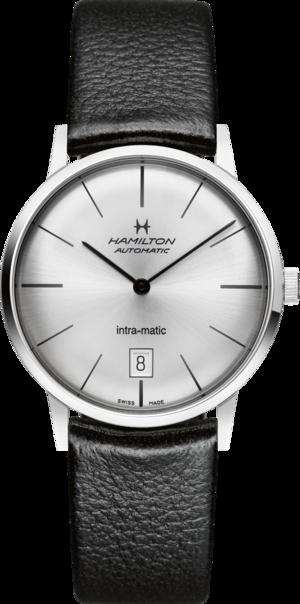 Armbanduhr Hamilton Intra-Matic Automatik 38mm mit silberfarbenem Zifferblatt und Kalbsleder-Armband