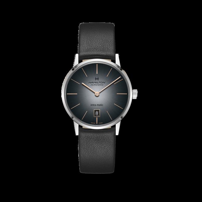 Armbanduhr Hamilton Intra-Matic Automatik 38mm mit grauem Zifferblatt und Rindsleder-Armband bei Brogle