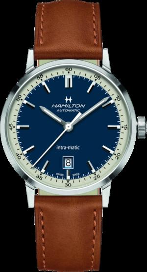 Herrenuhr Hamilton Intra-Matic Automatik 40mm mit blauem Zifferblatt und Kalbsleder-Armband