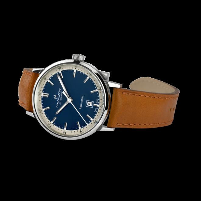 Herrenuhr Hamilton Intra-Matic Automatik 40mm mit blauem Zifferblatt und Kalbsleder-Armband bei Brogle