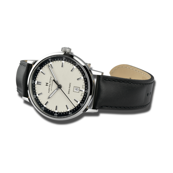 Herrenuhr Hamilton Intra-Matic Automatik 40mm mit beigefarbenem Zifferblatt und Kalbsleder-Armband bei Brogle