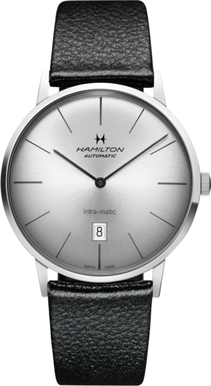 Herrenuhr Hamilton Intra-Matic Automatik 42mm mit silberfarbenem Zifferblatt und Kalbsleder-Armband
