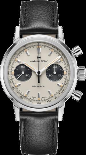 Armbanduhr Hamilton Intra-Matic Chronograph H mit weißem Zifferblatt und Kalbsleder-Armband