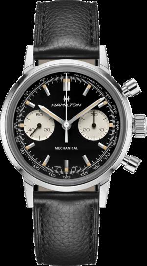 Armbanduhr Hamilton Intra-Matic Chronograph H mit schwarzem Zifferblatt und Kalbsleder-Armband