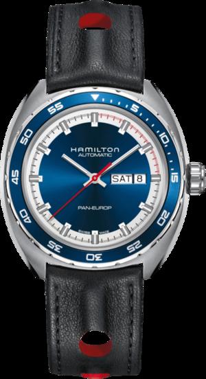 Herrenuhr Hamilton Pan Europ Day Date Automatik 42mm mit blauem Zifferblatt und Kalbsleder-Armband